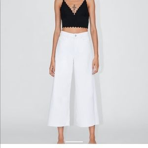 Zara wide leg high wasted cropped jeans